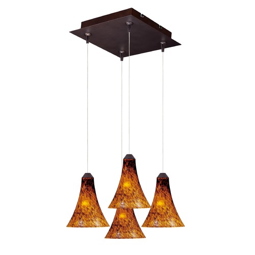 ET2 Lighting Minx Bronze Multi-Light Pendant with Bell Shade E94733-104BZ