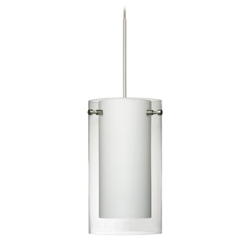 Besa Lighting Besa Lighting Pahu Satin Nickel Mini-Pendant Light with Drum Shade 1XT-C44007-SN
