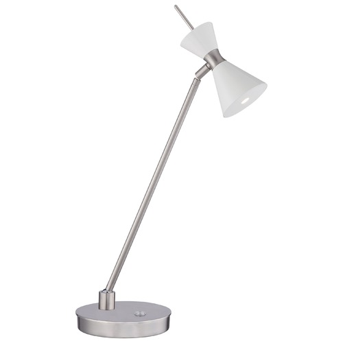 George Kovacs Lighting George Kovacs Conic Brushed Nickel LED Table Lamp with Conical Shade P1822-44F-L