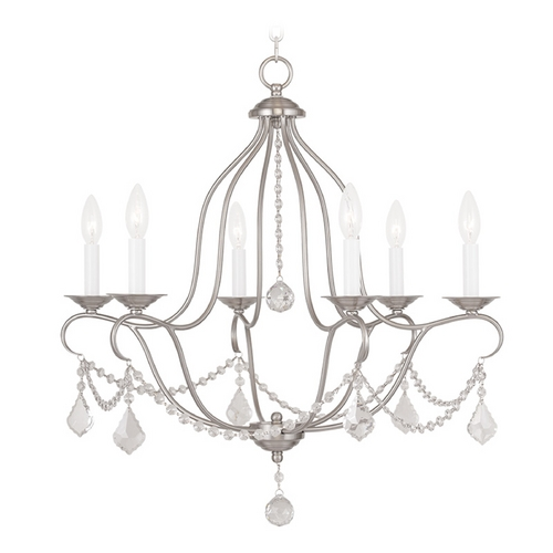 Livex Lighting Livex Lighting Chesterfield Brushed Nickel Crystal Chandelier 6426-91
