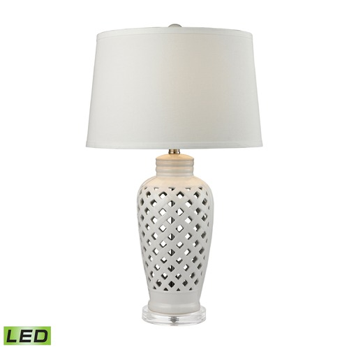 Elk Lighting Dimond Lighting White LED Table Lamp with Empire Shade D2621-LED