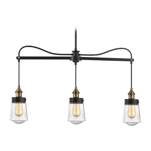 Savoy House Savoy House Lighting Macauley Vintage Black with Warm Brass Island Light with Bowl / Dome Shade 1-2062-3-51