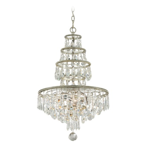Troy Lighting Troy Lighting Athena Silver Leaf and Polished Nickel Accents Crystal Chandelier F4885