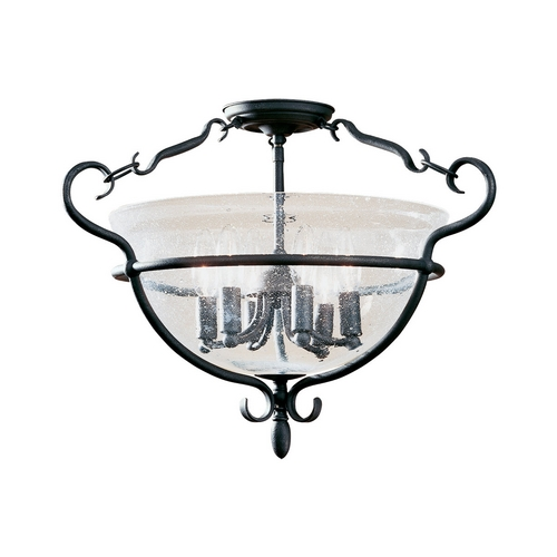 Sea Gull Lighting Semi-Flushmount Light with Clear Glass in Weathered Iron Finish 7700-07