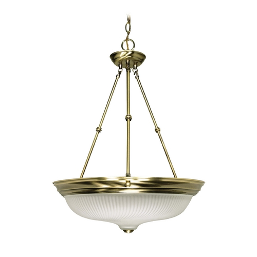 Nuvo Lighting Pendant Light with White Glass in Antique Brass Finish 60/244