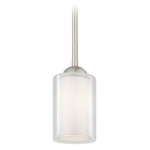 Design Classics Lighting Design Classics Gala Fuse Satin Nickel Stem Hung Mini-Pendant with Double Glass Shade 581-09 GL1061 GL1041C