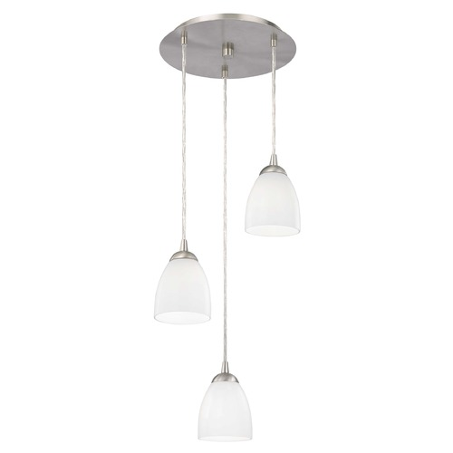 Design Classics Lighting Modern Multi-Light Pendant Light with White Glass and 3-Lights 583-09 GL1024MB