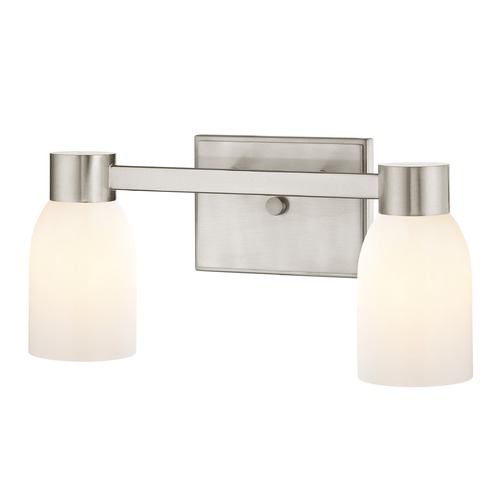 Design Classics Lighting 2-Light White Glass Bathroom Vanity Light Satin Nickel 2102-09 GL1028D