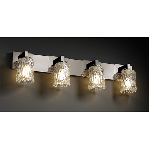 Justice Design Group Justice Design Group Veneto Luce Collection Bathroom Light GLA-8924-16-CLRT-BLKN