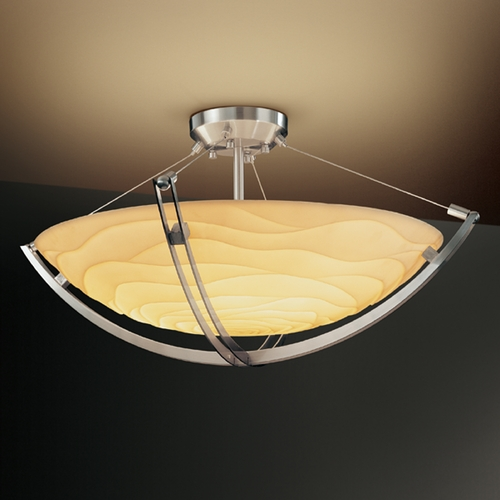 Justice Design Group Justice Design Group Porcelina Collection Semi-Flushmount Light PNA-9712-35-WAVE-NCKL