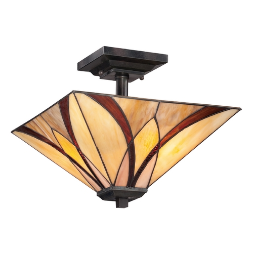 Quoizel Lighting Semi-Flushmount Light with Multi-Color Glass in Valiant Bronze Finish TFAS1714VA
