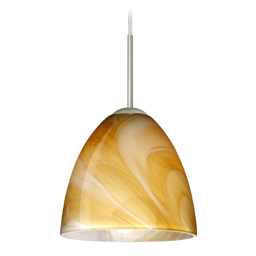 Besa Lighting Besa Lighting Vila Satin Nickel LED Mini-Pendant Light with Bell Shade 1JT-4470HN-LED-SN