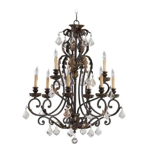 Quorum Lighting Quorum Lighting Rio Salado Toasted Sienna with Mystic Silver Chandelier 6157-9-44