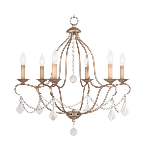 Livex Lighting Livex Lighting Chesterfield Antique Silver Leaf Crystal Chandelier 6426-73