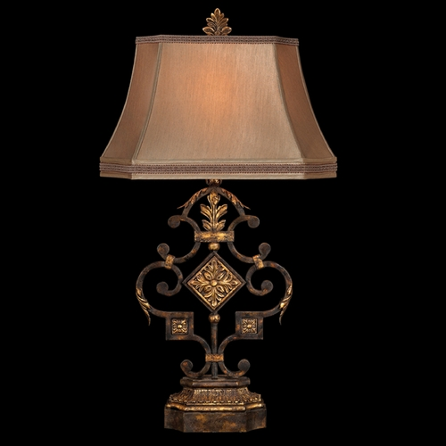 Fine Art Lamps Fine Art Lamps Castile Antiqued Iron with Gold Leaf Table Lamp with Bell Shade 230510ST