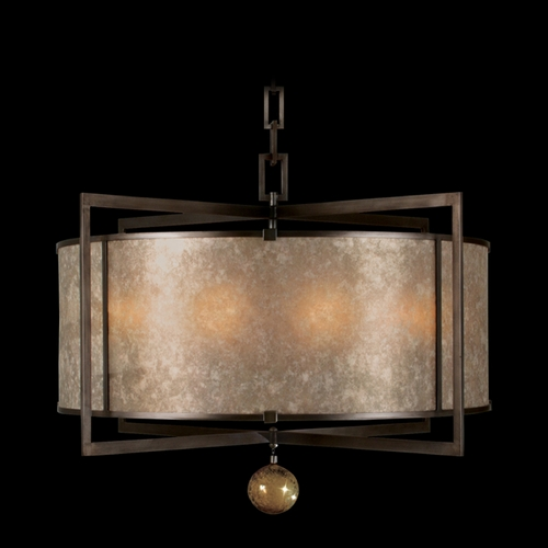 Fine Art Lamps Fine Art Lamps Singapore Moderne Brown Patinated Bronze Pendant Light with Drum Shade 591540ST
