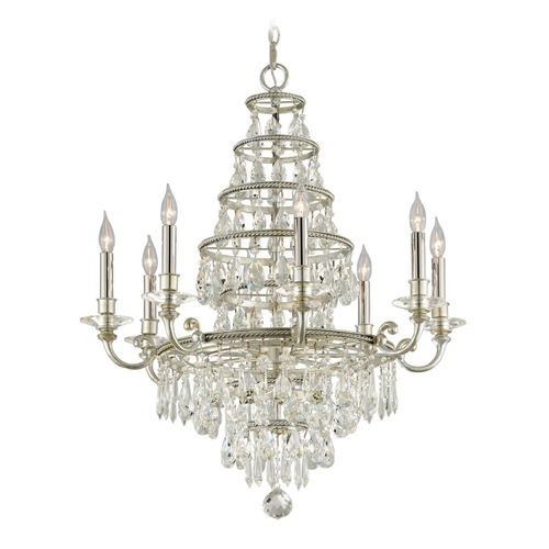 Troy Lighting Troy Lighting Athena Silver Leaf and Polished Nickel Accents Crystal Chandelier F4886