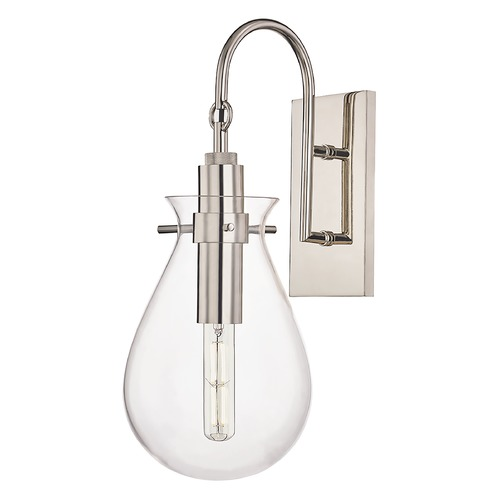 Hudson Valley Lighting Hudson Valley Polished Nickel Sconce with Clear Glass Shade BKO100-PN