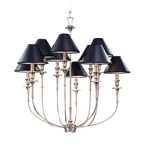 Hudson Valley Lighting Chandelier with Black Paper Shades in Antique Nickel Finish 1860-AN