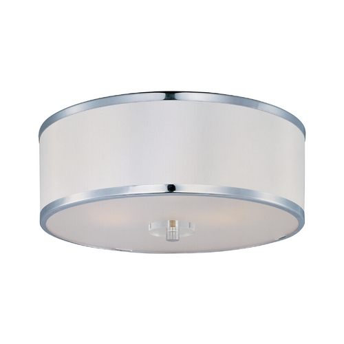 Maxim Lighting Modern Flushmount Light with White Shade in Polished Chrome Finish 39821BCWTPC