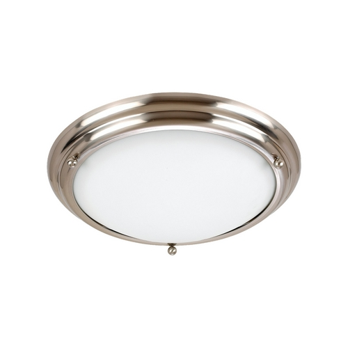 Sea Gull Lighting Flushmount Light with White Glass in Brushed Stainless Finish 77033-98