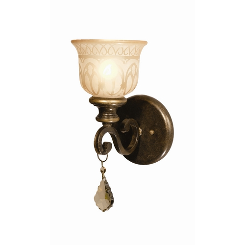 Crystorama Lighting Sconce Wall Light with Beige / Cream Glass in Bronze Umber Finish 7501-BU-GT-MWP