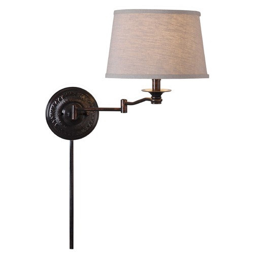 Kenroy Home Lighting Swing Arm Lamp with Beige / Cream Shade in Copper Bronze Finish 32217CBZ