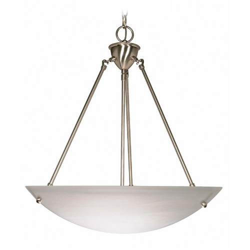 Nuvo Lighting Pendant Light with Alabaster Glass in Brushed Nickel Finish 60/370