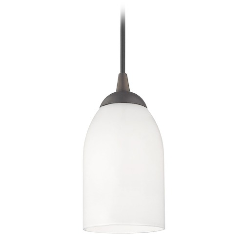 Design Classics Lighting Bronze Mini-Pendant Light with Satin White Glass 582-220 GL1028D