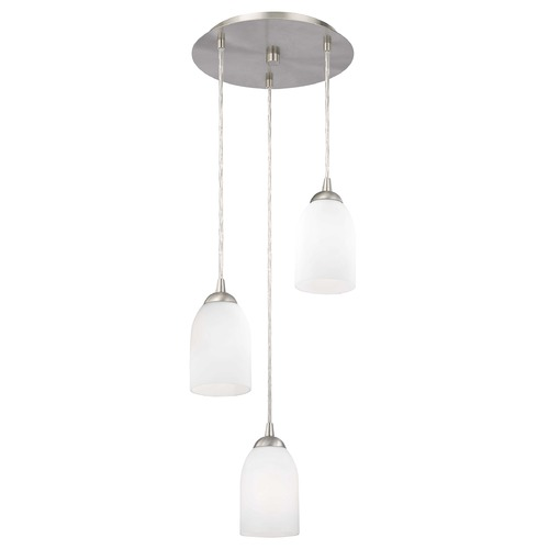 Design Classics Lighting Modern Multi-Light Pendant Light with White Glass and 3-Lights 583-09 GL1028D