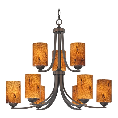 Design Classics Lighting Modern Chandelier with Brown Art Glass in Neuvelle Bronze Finish 586-220 GL1001C