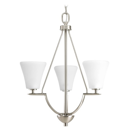 Progress Lighting Progress Chandelier with White Glass in Brushed Nickel Finish P3821-09