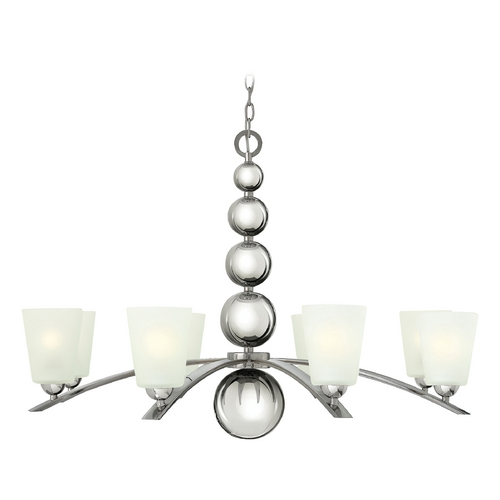 Hinkley Lighting Chandelier with White Glass in Polished Nickel Finish 3448PN