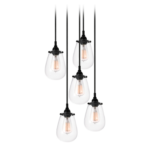 Sonneman Lighting Modern Multi-Light Pendant Light with Clear Glass and 5-Lights 4295.25