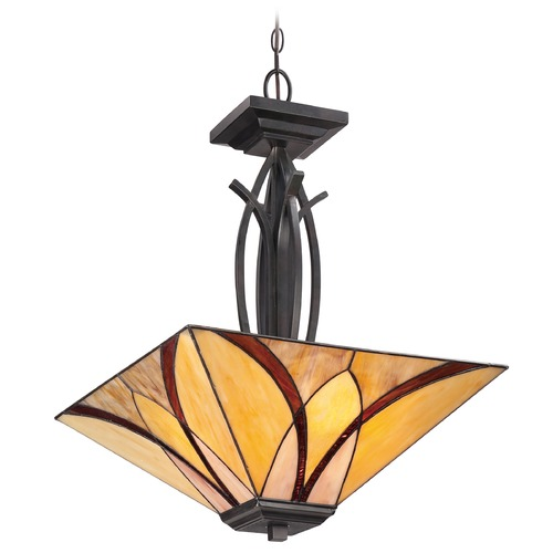Quoizel Lighting Pendant Light with Multi-Color Glass in Valiant Bronze Finish TFAS2817VA
