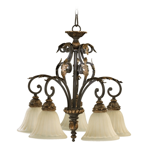 Quorum Lighting Quorum Lighting Rio Salado Toasted Sienna with Mystic Silver Chandelier 6457-5-44