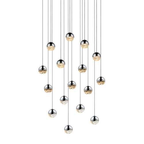 Sonneman Lighting Sonneman Grapes Polished Chrome 16 Light LED Multi-Light Pendant 2923.01-SML