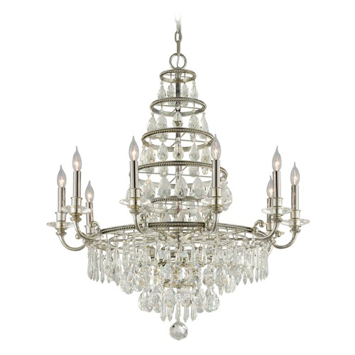 Troy Lighting Troy Lighting Athena Silver Leaf and Polished Nickel Accents Crystal Chandelier F4887