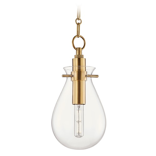 Hudson Valley Lighting Hudson Valley Aged Brass Pendant Light with Clear Glass Shade BKO101-AGB