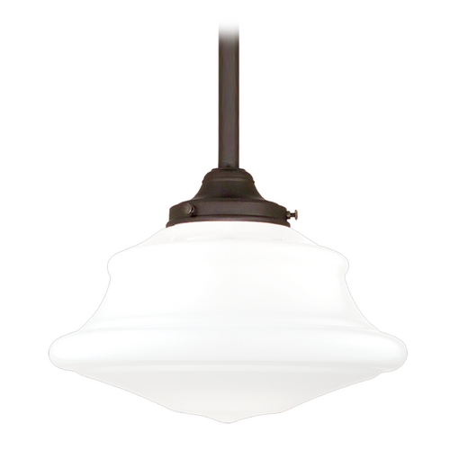 Hudson Valley Lighting Pendant Light with White Glass in Old Bronze Finish 3412-OB