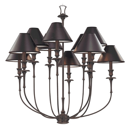 Hudson Valley Lighting Chandelier with Black Paper Shades in Old Bronze Finish 1860-OB
