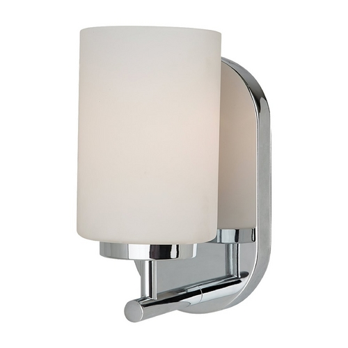 Sea Gull Lighting Modern Sconce Wall Light with White Glass in Chrome Finish 41160-05