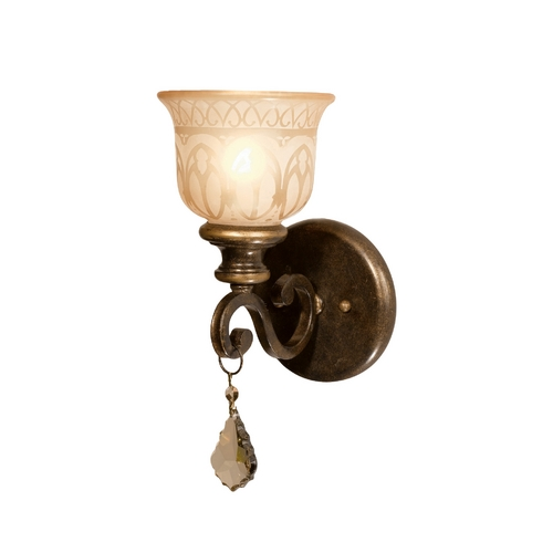 Crystorama Lighting Crystal Sconce Wall Light in Bronze Umber Finish 7501-BU-GTS