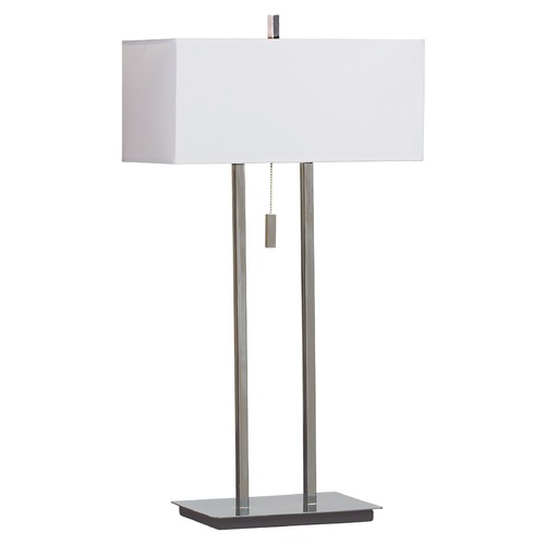 Kenroy Home Lighting Modern Table Lamp with White Shades in Chrome Finish 30816CH