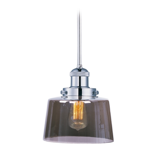 Maxim Lighting Maxim Lighting Mini Hi-Bay Polished Nickel Mini-Pendant Light with Drum Shade 25049MSKPN/BUI