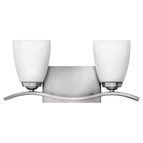 Hinkley Lighting Bathroom Light with White Glass in Brushed Nickel Finish 5372BN