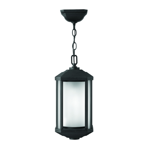 Hinkley Lighting Outdoor Hanging Light with White Glass in Black Finish 1392BK