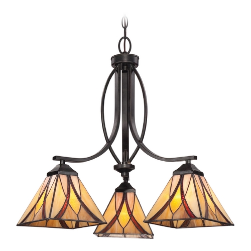 Quoizel Lighting Chandelier with Multi-Color Glass in Valiant Bronze Finish TFAS5003VA