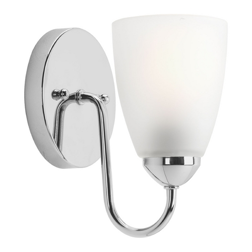 Progress Lighting Modern Sconce Wall Light with White Glass in Polished Chrome Finish P2706-15EBWB