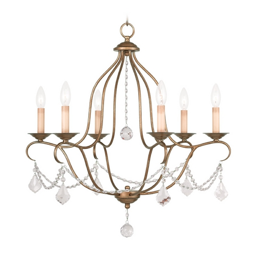 Livex Lighting Livex Lighting Chesterfield Antique Gold Leaf Crystal Chandelier 6426-48